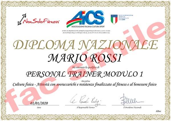Un esempio del Diploma Nazionale