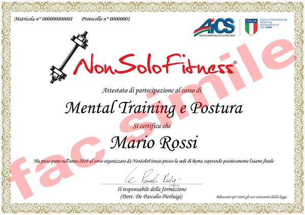 diploma corso Mental Training e Postura