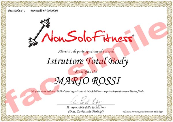 diploma Istruttore Total Body