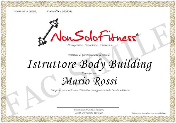 diploma Istruttore di Body Building