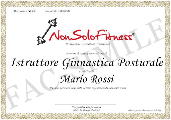 diploma Istruttore Ginnastica Posturale