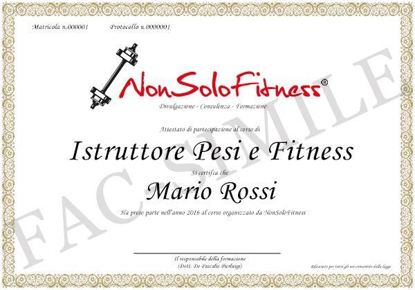 diploma Istruttore Pesi e Fitness