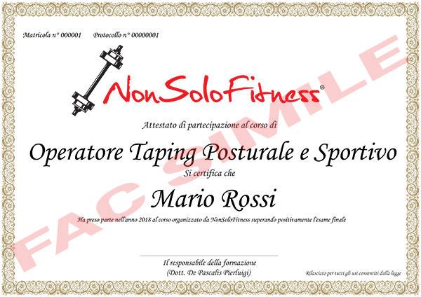 diploma Operatore Taping Posturale e Sportivo