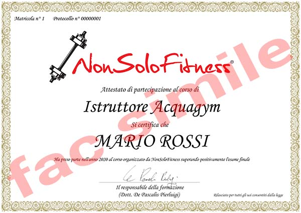 diploma Istruttore Acquagym